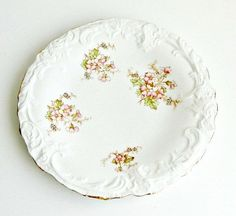Antique La Française Porcelain Plate, French Farmhouse Decor, White & Pink Floral Plate, Art Nouveau Plate, c.1905 by retrogroovie on Etsy