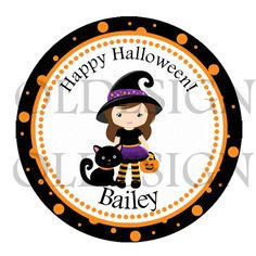 Halloween girl Stickers, Cupcake Topper, Tags, great for birthday partys. 2 Inch Circles.  Digital file