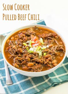 Slow Cooker Pulled Beef Chili << Thyme For Cocktails
