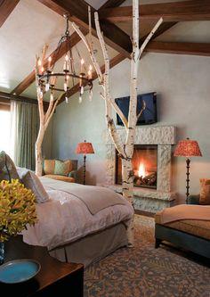 50 Romantic Bedroom Interior Design Ideas for Inspiration, Romantic Bedroom Decor, Cozy Bedroom, Bedroom Ideas, Master Bedroom, Tree Bedroom, Nature Bedroom, Master Master, Bedroom Inspiration, Bed Room