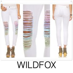 """WILDFOX rainbow distressed white skinny jeans WILDFOX rainbow distressed white skinny jeans. Beautiful water color shredding at front legs makes for a fun touch. Lots of stretch and in wonderful condition. States size 30 would fit size 27-28   Waist is 15"""" across hips are 16"""" across front rise is 9"""" high inseam is 29.5"""" long Wildfox Jeans Skinny"""