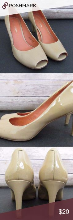 Beige Leather Peeptoe Heels Pumps Some small scuffs and marks.  Please see pictures. Comes from a smoke free home.  Feel free to ask any questions you may have.  Thanks for looking! Via Spiga Shoes Heels