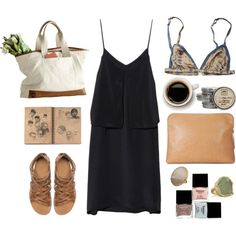 """""""Untitled #271"""" by the59thstreetbridge Black Dress / strappy sandals / canvas bag / bralette/ leather pouch"""