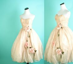 Vintage 1950s Nude and Petal Pink Rose embellished Bombshell Wedding dress / by aiseirigh, $335.00 via @Etsy