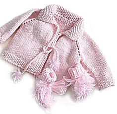 Pamper your princess with this sweet, soft little jacket and matching booties. (Lion Brand Yarn)