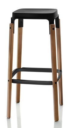 Magis - Steelwood High Bar Stool - In Black