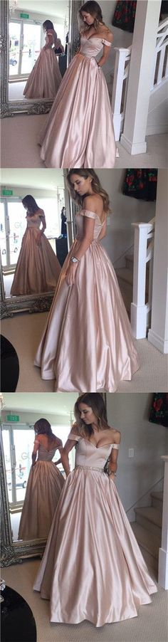 Long Prom Dresses Pink, Ball Gown Party Dresses Off-the-shoulder, Satin with Beading Formal Evening Dresses Modest
