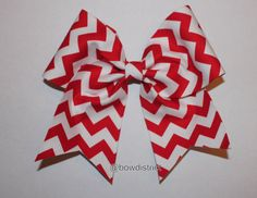"""3"""" Red and White Chevron Cheer Bow"""