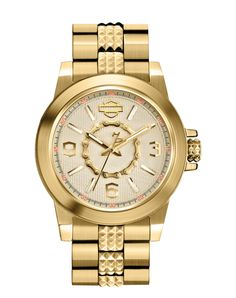 Harley-Davidson Women s Silver Stainless Steel Wrist Watch Harley-Davidson  Womens Silver White Dial with Gold Gear Chain Inner Ring Watch By Bulova 105a6659b4c