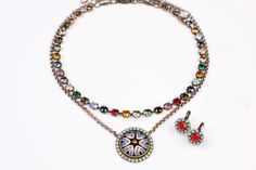 Prim London Choker paired with Impressionists Medallion Necklace and Vintage Impressionists Sabika Grace Drop Earrings