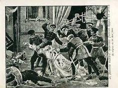 draga obrenović -Tras pasar horas escondidos en el vestidor de la reina, los asaltantes, un grupo de conspiradores supuestamente pertenecientes al grupo Unificación o Muerte capturaron a la pareja real, que fue brutalmente asesinada