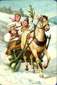 Kunstnerkort Tre damer i bunad på hesteslede tidlig 1900-tall Utg Abels kunstforlag