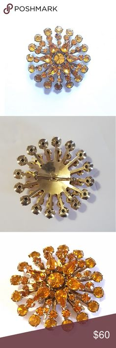 Vintage Orange Rhinestone Starburst Brooch / Pin Gorgeous estate piece from the 1940s/1950s. Condition is as shown. Nothing is loose or missing. Unmarked.  I'm selling this on consignment and the price is firm per my client. Note is not included but is for reference, as it belonged to the family member who owned the brooch. Measurements in 4th pic. Vintage Jewelry Brooches