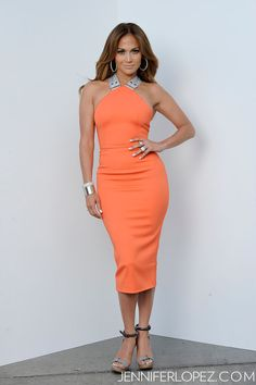 On Thursday, I wore a Victoria Beckham dress with Lanvin shoes, Jacqueline Nerguizian earrings, Norman Silverman rings, a cuff by Cora, and a diamond bracelet by Celine.- Jennifer Lopez