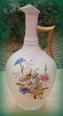 Antique Porcelain Bisque Floral Ewer 1880s FREE SHIPPING