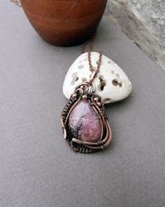Pink stone pendant  Rhodonite pendant Wire Wrapped pendant  Gift for wife Healing Crystals Art nouveau pendant