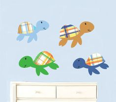 Set of 4 plaid sea turtles  vinyl wall decal great by wallinspired, $29.00