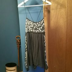 American Eagle dark blue mini dress Super cute in excellent, new condition. Perfect comfortable sundress. Embroidered white design on the top and down each side. American Eagle Outfitters Dresses Mini