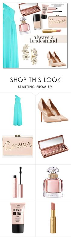"""Get the look"" by vkmd ❤ liked on Polyvore featuring Matthew Williamson, Salvatore Ferragamo, BCBGMAXAZRIA, Urban Decay, Too Faced Cosmetics, Guerlain, NYX, Kate Spade and alwaysabridesmaid"