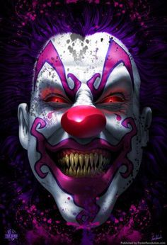 Keep Smiling Scary Clown Horror Tom Wood Fantasy Art Poster Halloween Clown, Gruseliger Clown, Terrifying Halloween, Halloween Stories, Clown Faces, Creepy Clown, Happy Halloween, Purple Halloween, Halloween 2013