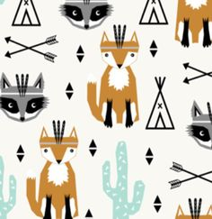 Racoon & Fox chief Arrows and Teepees fitted cotton crib sheet