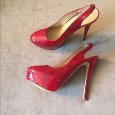 ✨LAST CALL✨JustFab Red Slingback Pumps Brand new never worn JustFab Shoes Heels