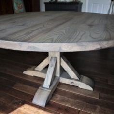 Rustic Elements Furniture custom builds round tables, available in your choice of wood, style, and distress. 60 Inch Round Table, Round Tables, Dining Tables, Trestle Table, Custom Furniture, Home Kitchens, Rustic, Wood, Kitchen Island