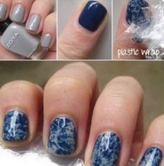 Use wax paper to make a cool nail design