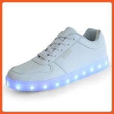 ASlibay New Spring Autumn Colorful LED USB Charging Unisex Sneakers PU  Leather Casual Shoes Size39 White