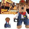 Humor Halloween pet cat dog cowboy costume cosplay con sombrero del perro pequeño perro de perrito de jean jacket coat ropa del perro de Pitbull ropa