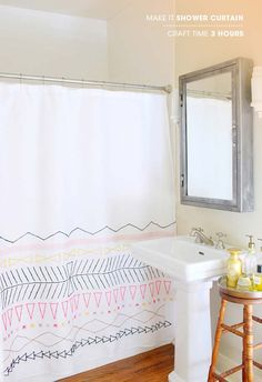 DIY Bathroom Decor Ideas for Teens - Make It Shower Curtain - Best Creative, Cool Bath Decorations and Accessories for Teenagers - Easy, Cheap, Cute and Quick Craft Projects That Are Fun To Make. Easy to Follow Step by Step Tutorials http://diyprojectsforteens.com/diy-bathroom-decor-teens