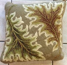 Leaf design pillow hooked by Mary Gilbert