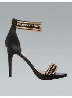0eca6e453fed Black Open Toe Stiletto Heels w  Gold T Strap  ustrendy  heels  gold