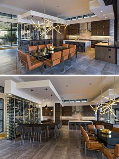 This modern dining room, with its sculptural chandelier, shares the open room with the kitchen and a bar, that also features a built-in glass wall that provides wine storage. Amazing Architecture, Interior Architecture, Interior Design, Arizona, Kitchen Layout, Kitchen Design, Hotel Concept, Glass Room, Valley View