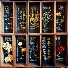 This is a pretty way to display dried flowers. Fleurs Diy, Deco Nature, Deco Floral, Flower Boxes, Botany, Dried Flowers, Flower Art, Flower Arrangements, Herbalism