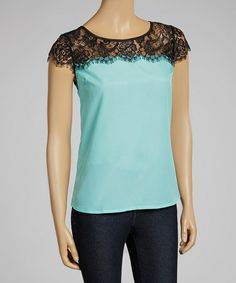 Another great find on #zulily! Turquoise & Black Sheer Lace Cap-Sleeve Top by Joyce Clothing #zulilyfinds