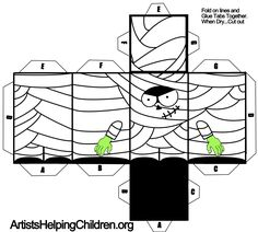 paper crafts templates | Paper Mummy Toy Figure Craft for Kids on Halloween « Free Paper Toys ...