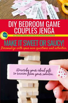 This DIY Bedroom Game for Couples is Jenga like you've never played before. The stakes are higher and the heat is hot, hot, hot.    Heat up your stay at home date night with this fun, steamy, saucy date night idea. Reconnect and relax with your favorite sweetie.
