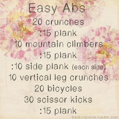 "I did this today,wasn't ""easy"" by any means. But abs are never easy!"