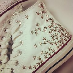 Studded Converse silver star studs by CUSTOMDUO on ETSY
