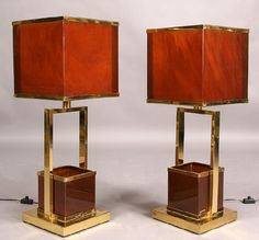 242: PAIR WILLY RIZZO STYLE BRASS ACRYLIC TABLE LAMPS : Lot 242