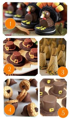 {Thanksgiving Treats} We've tried 1, 2 & 4. Can't wait to try the others this year. Always a fun activity to do with the kids