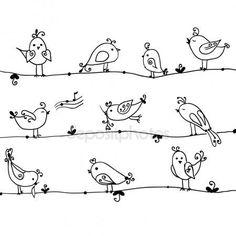 Doodle Set of cute birds in vector by on Ideas Bird Doodle Drawing For 2019 Doodles Ideas Doodle birds li Bird Drawings, Doodle Drawings, Easy Drawings, Animal Drawings, Tier Doodles, Bird Doodle, Doodle Flowers, Cartoon Birds, Elementary Art