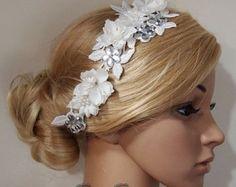 SALE 40% OFF Bridal Head piece, Bridal Hair Comb, Wedding Hair Comb, bridal Fascinator, Bridal Hair Clip, Wedding Fascinator, White lace flo