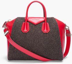 Givenchy Gray Tweed and Red Leather Antigona Duffle Bag