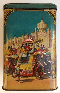 India Riding Elephants...Vintage tea tin