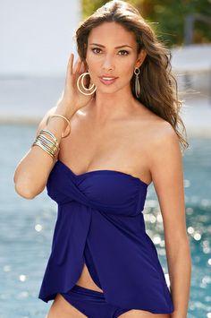 unforgettable tankini swimwear - Boston Proper - OR BLACK - TOP - $49