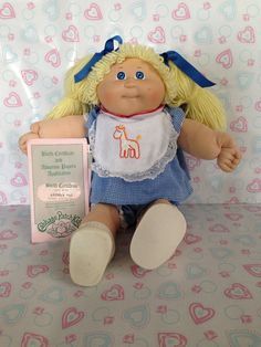 I HAD THIS EXACT ONE!  Her name was DARLENE JOY.  Vintage Cabbage Patch Kid blonde/blue Eyes Girl