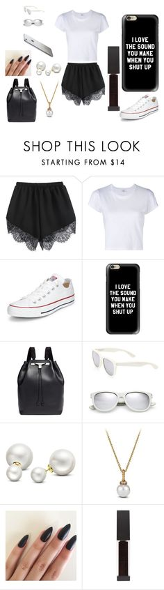 """""""BLACK AND WHITE"""" by futurehill on Polyvore featuring RE/DONE, Converse, Casetify, The Row, Yves Saint Laurent, Allurez, David Yurman and Surratt"""