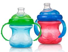 Nuby No-Spill Cups. Josie transitioned from bottles to sippy cups in one day with these! @schex_mix @kml5589 Yall need these!